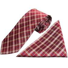 Handmade Burgundy Tartan Silk Tie and Handkerchief Set Regular Tie and Hanky Set