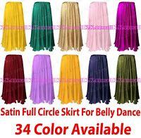 Belly Dancing Satin Full Circle Women's long Maxi Skirt Jupe Costume UK S8-2 UK