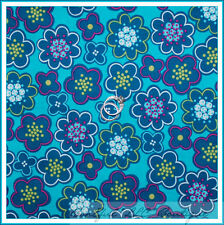 BonEful Fabric FQ Cotton Quilt Aqua Blue Teal Green Pink White Flower Hippie Dot