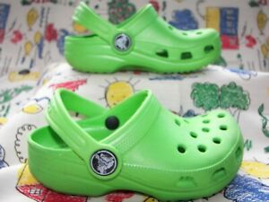 Kids Lime Green Crocs Size 6 7 with Strap