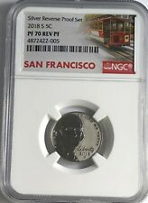 2018 S NGC PF70 SILVER REVERSE PROOF NICKEL RD TROLLEY LABEL 5c