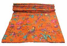 Kantha Quilt Handmade Vintage Bedspreads Cotton Bird Print Blanket Throw Gudari