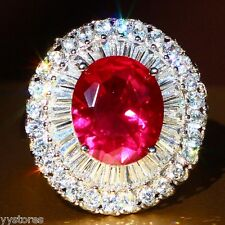 925 silver Filled Red Sapphire Birthstone Wedding Loving Ring Gift Size 8 LL356
