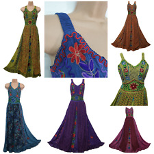 Vestido Maxi Talla Plus Hippie Medieval Renacimiento Bohemio Bordado 18 20 22