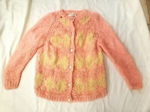 1960s Pink Sweater  Pink Acrylic Knit Pullover Top Short Sleeves   Women/'s Small