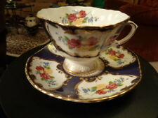 DUCHESS CUP AND SAUCER  DARK BLUE WITH FLOWERS  NWT  (58)