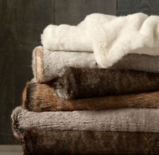 NWT LUXURY Restoration Hardware Luxe Faux Fur Throw Blanket 50 x 60-Arctic Fox