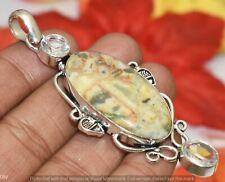 Gemstone Silver Plated Pendant U320-B143 Crazy Lace Agate & Clear Quartz