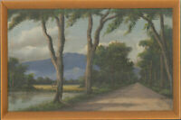 Radjimin - Framed Mid 20th Century Oil, Tree Path with Mountain in the Distance