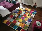 SPECTRUM WALTZ CHECKED QUALITY HAND CARVED SOFT SMALL LARGE MULTI RUG & RUNNER