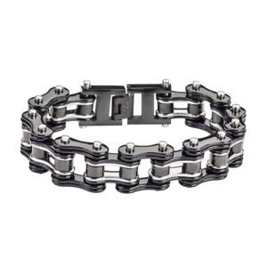 Men's Black & Chrome Stainless Steel Motorcycle Biker Bracelet *TOP SELLER*  76