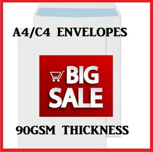 Plain White Envelopes Quality Self Seal  A4/C4  Strong Paper 324MM X 229MM 90GSM