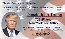 President Donald Trump  New York NY US id collector card Drivers License