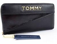 TOMMY HILFIGER Women's Zip Around Wallet, Black, Gold Tommy Lettering