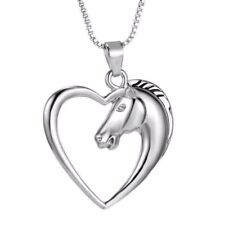 Womens Long Necklaces Horse Chain 925 Sterling Silver Plated Heart Pendant 18""