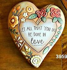 "CERAMIC BISQUE MEDIUM HEART OF THE GARDEN W/BIBLE VERSE~9.5""X8.5"" READY TO PAINT"