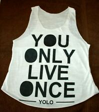 You Only Live Once YOLO Hippy White and Black Sign Sleeveless Vest Top Size S/M