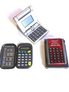 Lot Of 3 items-(1) BrookStone Folding Travel Clock/ Calculator + 2 Calculators