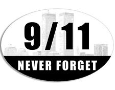 3x5 inch OVAL 9-11 NEVER FORGET Skyline Sticker - ny nine 911 new york fdny love