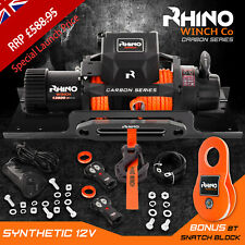 More details for rhino electric recovery winch 12v 13500lb carbon 4x4 synthetic + mounting plate