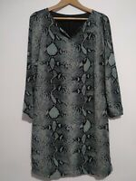 Tom Tailor Snakeskin Print Shift Dress Blue Black Size EU 38 UK 10 Long Sleeves