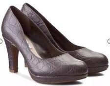 New👠Clarks 👠Size 6 Crisp Kendra Taupe Leather Platform Heels Shoes 39.5EU