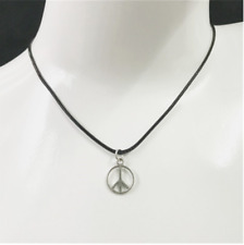 Silver Peace Love Sign Necklace Black Rope Chain & Pendant Womens Mens Jewellery