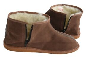 Womens Mens Unisex Natural Leather And Sheep's Wool Slipper Boots Size 3 -12