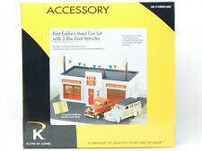 O Scale K-Line 6-22468 Fast Eddie Used Car Lot Building w/ Lighting & Vehicles
