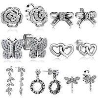 Ear Stud Zirconia Dangle Earrings Flower Butterfly Shape 925 Silver Fine Jewelry