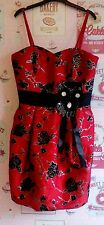 BEAUTIFUL RED /BLACK DRESS, SIZE 10, LINED, WEDDING/PARTY