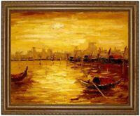 Ölbild, Meeresstrand, Fischerboote Sonnenuntergang HANDGEMALT Gemälde F: 50x60cm