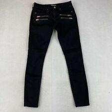 Topshop Moto Low Rise Leigh Jeans Women's W28xL32 Black Zip Pocket Cotton Blend