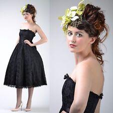 VTG 80s 50s GUNNE SAX Black Princess LACE FULL CIRCLE SKIRT Wedding Party DRESS