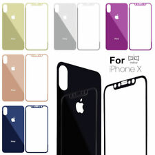 Front and Back Colored Mirror Tempered Glass Screen Protector iPhone X
