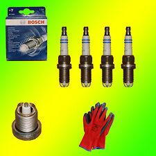 4 x Bosch Super Plus Zündkerzen - FR7LDC+ 0242235914 +GRATIS Handschuhe