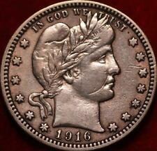 1916-D Denver Mint Silver Barber Quarter
