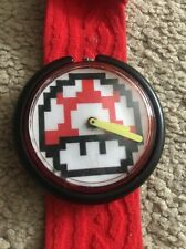 Vintage Red POP Swatch Watch - Bespoke Mario, Nintendo, 8-BIT, Retro