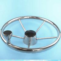 """Boat Stainless Steel 12-3//4/"""" Steering Wheel With Black PU Foam Five Spoke"""