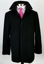 Hugo Boss Mens Heavy Cashmere Wool Overcoat Coat Peacoat Button Up Black 42R