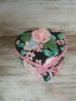 NOS Adorable Vintage Heart Fabric Trinket Jewelry Storage Box Black Pink Green
