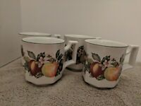 Made in England Numbered Octagon-Shaped Fruit Coffee/Tea Mugs/Cups Set of 4
