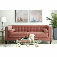 Velvet Tufted Sofa Lounge Mid Century Vintage Square Tapered Leg