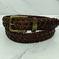 Nautica Brown Leather Braided Woven Solid Brass Buckle Belt Size 36