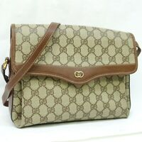 GUCCI GG Pattern PVC Canvas Crossbody Shoulder Bag Purse Brown Beige JUNK
