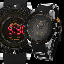 Goblin Shark Men's LED Digital Silicone Date Day Quartz Sport Black Yellow Watch