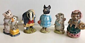 Beatrix Potter's Beswick England Lot of 5 Tommy Brock Pig Wig Miss Moppet Ribby