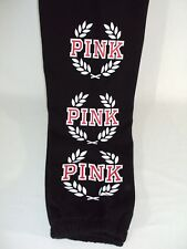 Victoria's Secret PINK Women's Sweatpants MEDIUM BIG LONG TALL CAMPUS Black NWT