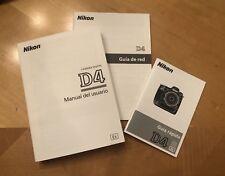 Nikon D4 Instruction Owners Manual Book  Spanish Usuario Guia Rápida De Red