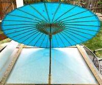 Vintage Japanese Blue Paper Umbrella Parasol 33 Inches Across-Paper and Bamboo